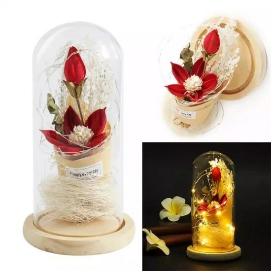 Kişiye Özel Işıklı Kırmızı Çiçek Buketi Tasarımlı Fanus