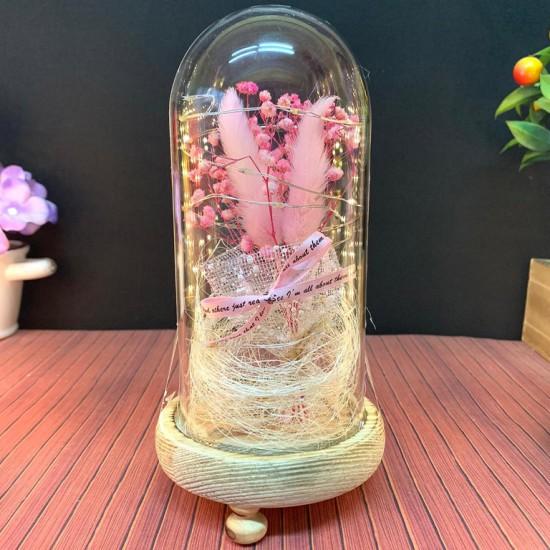 Işıklı Renkli Sakura Arajman Tasarımlı Fanus