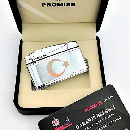 Türk Bayrak  İşlemeli Promise Markalı Metal Çakmak Gümüş
