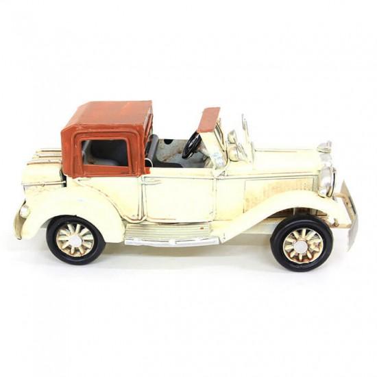 Dekoratif Nostaljik Metal Klasik Araba Beyaz ( model 1 )