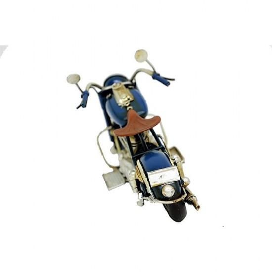El Yapımı Metal Nostajik Motorsiklet Mavi