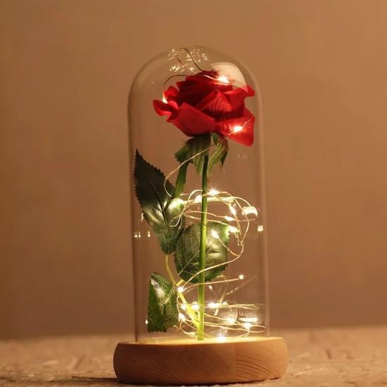 Işıklı Kırmızı Gül Tasarımlı  Fanus