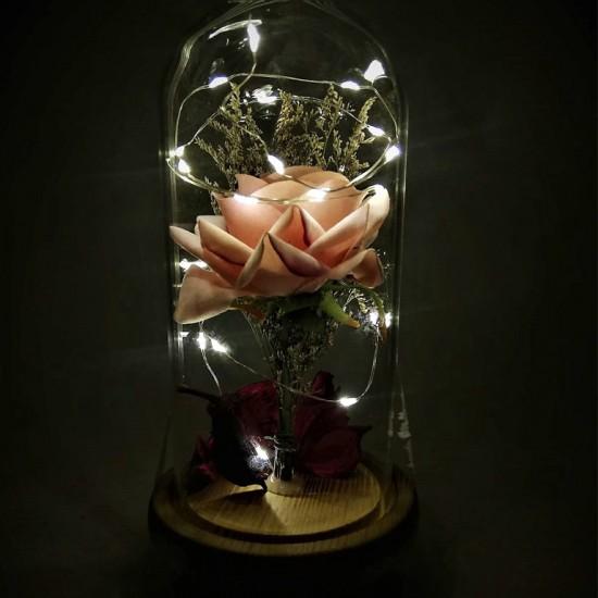 Işıklı Pembe Gül Tasarımlı Fanus