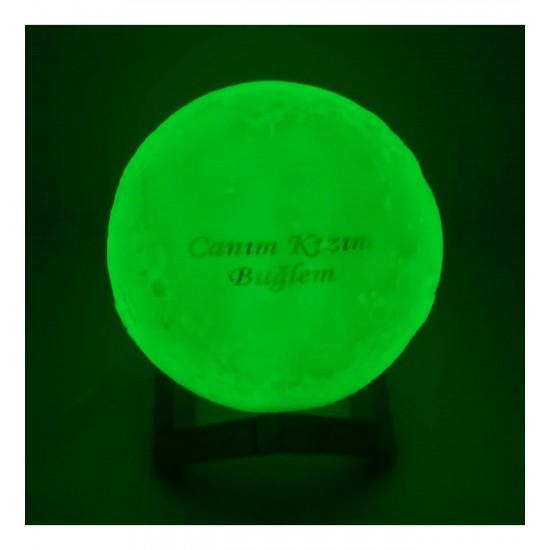 İsme Özel 3 Boyutlu Tasarımlı Ay Gece Lambası 3d Renk Değişen Büyük
