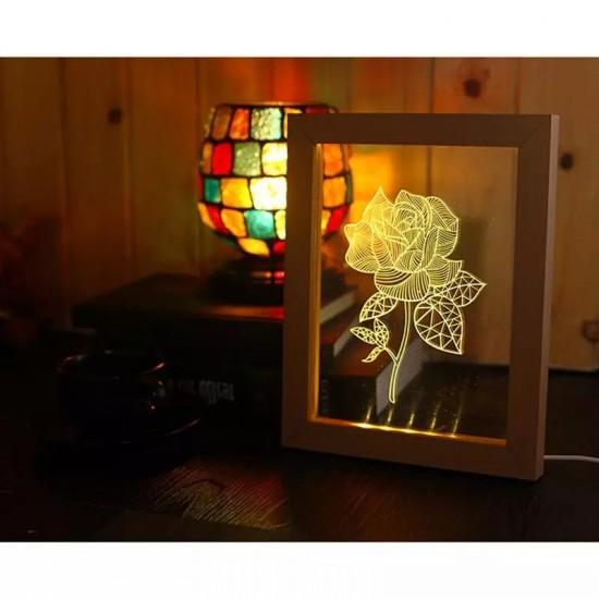 Kişiye Özel Led Işıklı Şeffaf Pleksi Dekoratif Gül Çerçeve