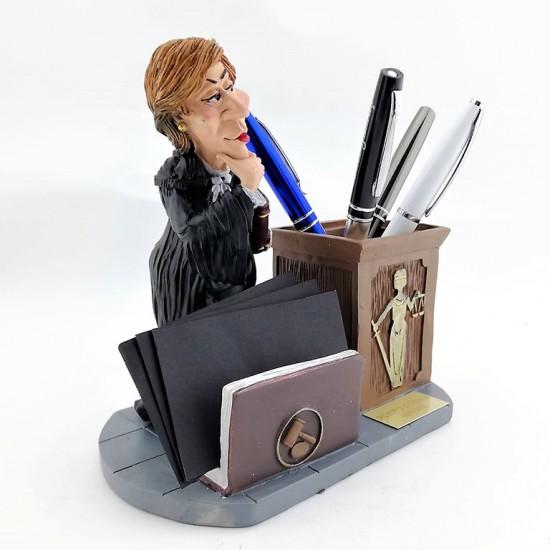 Kişiye Özel Kadın Avukat Biblolu Kalemlik ve Kartvizitlik