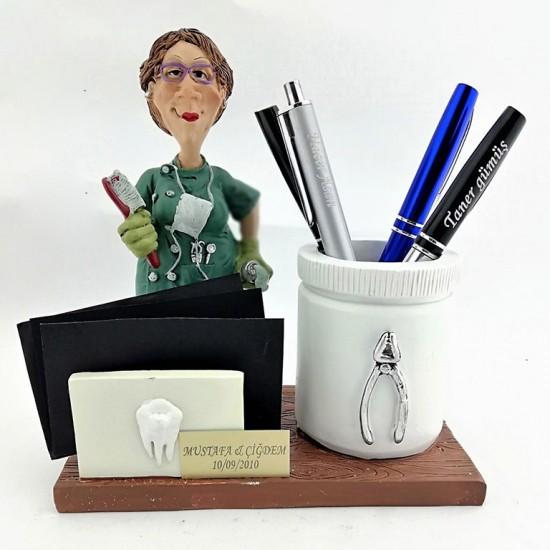 Kişiye Özel Kadın Dişçi Biblolu Kalemlik ve Kartvizitlik