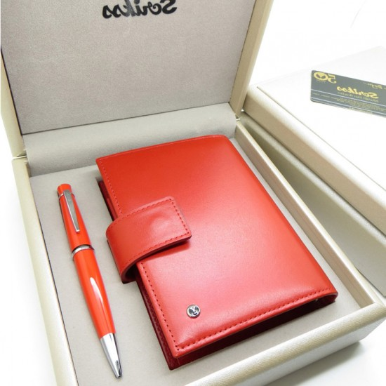Kişiye Özel Kırmızı Scrikss Tükenmez Kalem ve Kartlıklı Cep Ajandası Seti