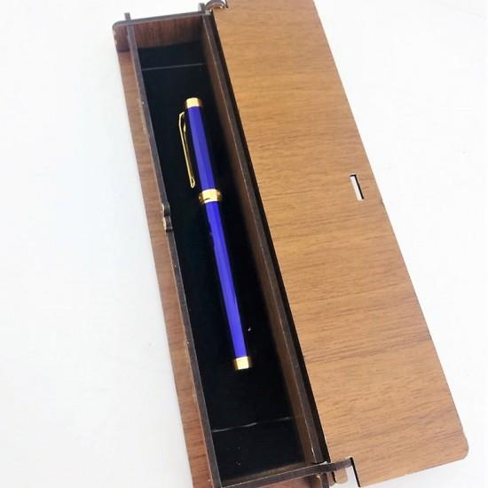 Kişiye Özel Chen Lacivert Altın Renk Dolma Kalem
