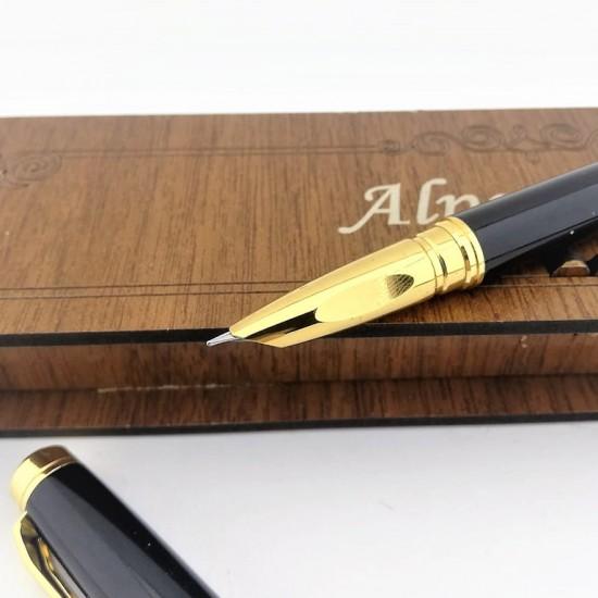 Kişiye Özel Chen Siyah Altın Renk Dolma Kalem