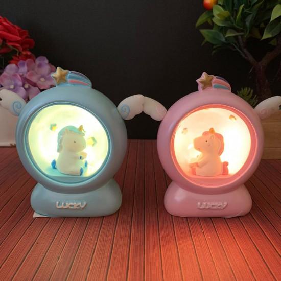 Kulaklı Sevimli Unicorn Gece Lambası
