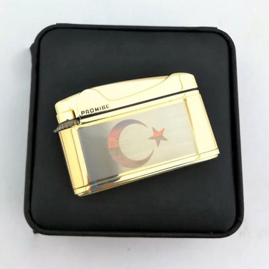 Türk Bayrak İşlemeli Promise Markalı Metal Çakmak Sarı