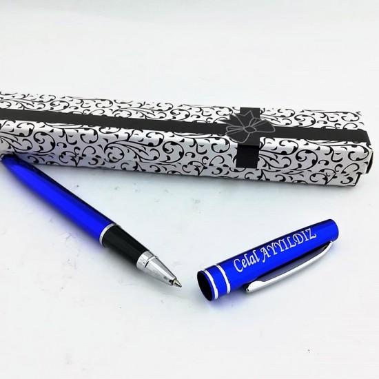 İsme Özel Kutulu Metal Mavi Kalem
