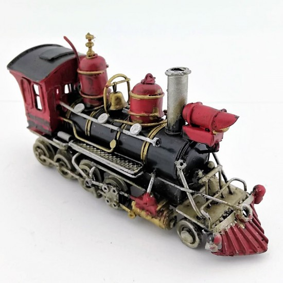 Nostaljik Metal Kara Tren Siyah Lokomotif (Kırmızı)