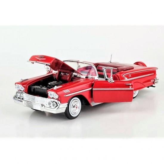 Motor Max 1,24 Diecast 1958 Chevy İmpala model araba Kırmızı