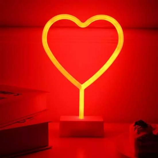 Kalp Tasarımlı Neon Led Masa Ve Gece Lambası