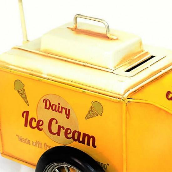 Nostaljik Dekoratif Dondurma Arabası Sarı