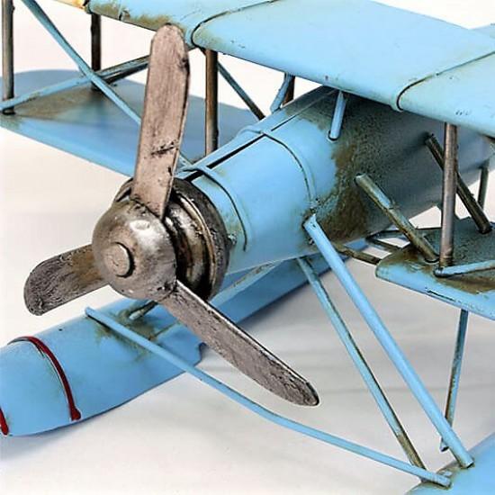Nostaljik Dekoratif  Metal Çift Kanatlı Deniz Uçağı