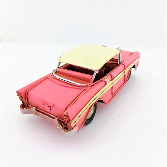 Nostaljik Dekoratif Metal Pembe Chevrolet