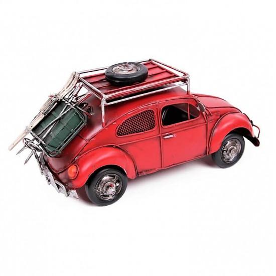 Nostaljik Metal Bavullu Kumbaralı ve Resim Çerçeveli Vosvos Metal Araba (Büyük Boy)