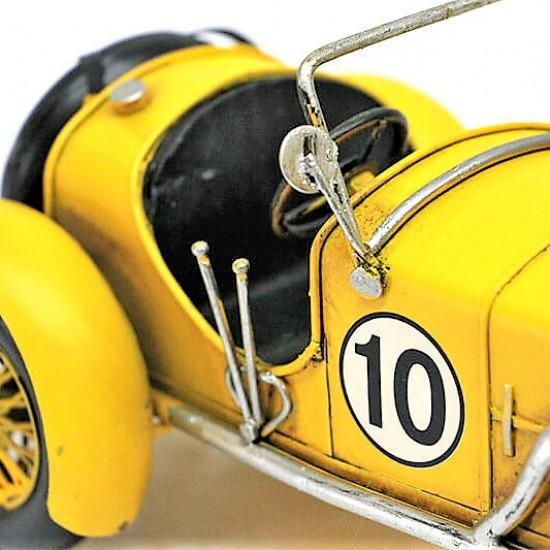 Nostaljik  Metal Yarış  Arabası Sarı Büyük Boy