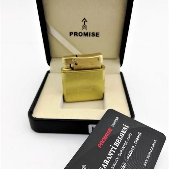 Promise Markalı Benzinli Exclusive Çakmak (Altın)