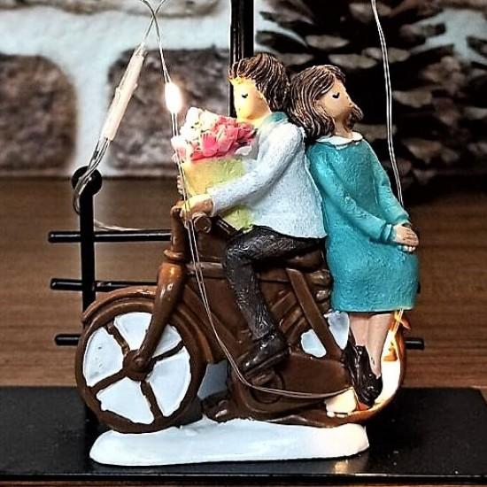 Romantik Motorlu Çift Büyük Boy Işıklı  Biblo