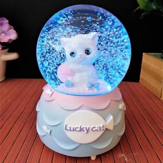 Sevimli Kedi Temalı Işıklı Müzikli Kar Küresi 1
