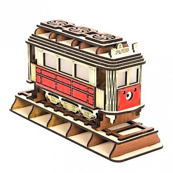 Işıklı Ahşap Tramvay Büyük Boy