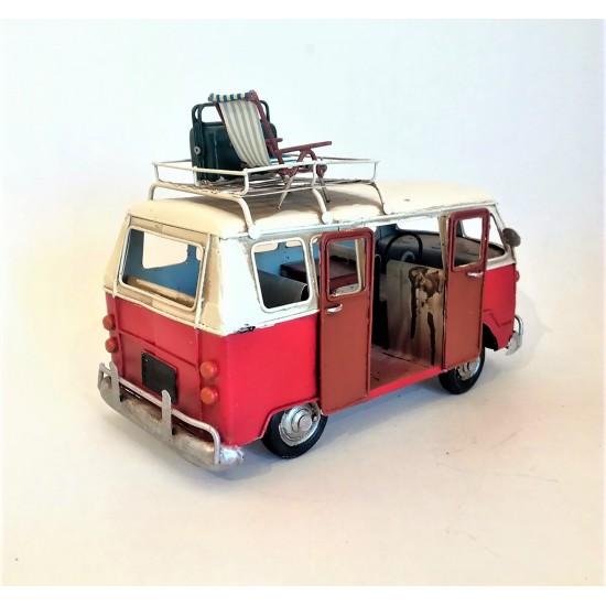 El Yapımı Nostaljik Metal Kırmızı Vosvos Minibüs Karavan Büyük Boy
