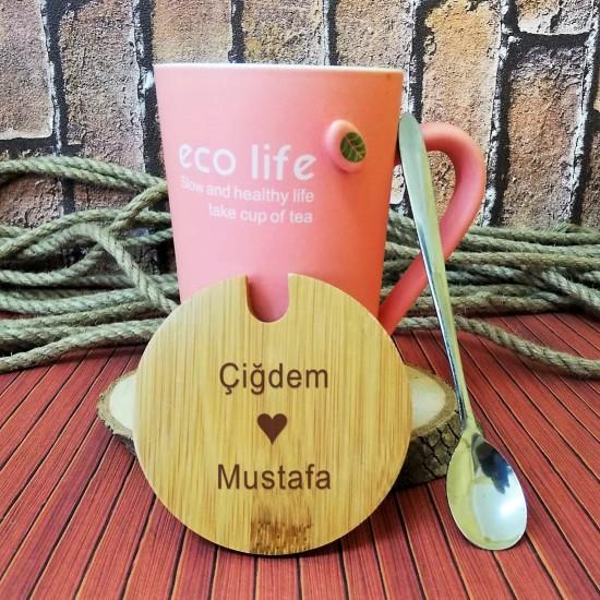 İsme Özel Eco Life  Kupa Bardak Kapaklı Kaşıklı Pembe