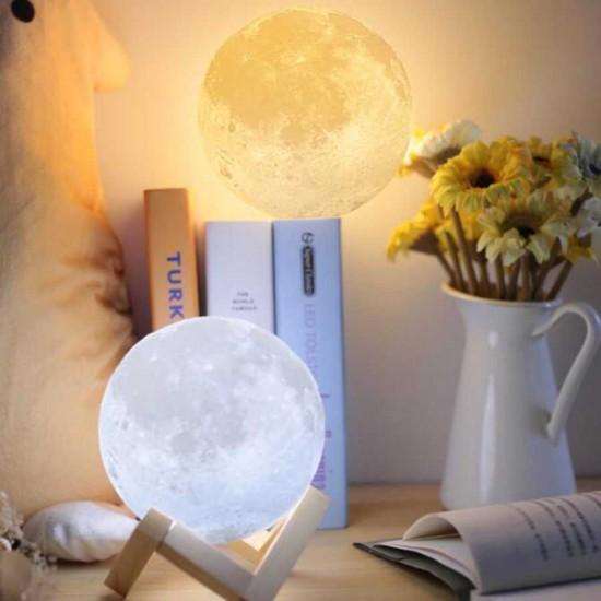 3 Boyutlu Tasarımlı Ay Gece Lambası 3d Renk Değişen  Büyük Boy