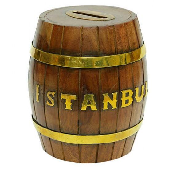 Ahşap İstanbul Fıçı Kumbara