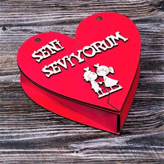 Ahşap Kalp Kutulu Aşk Seti