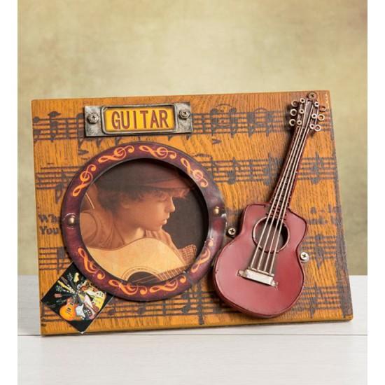 Ahşap Nostaljik Gitar Temalı Resim Çerçevesi