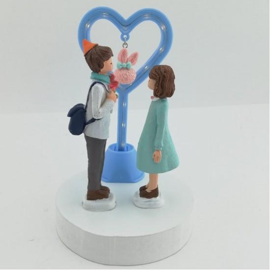 Birbirine Bakan Romantik Çiftler Işıklı Biblo