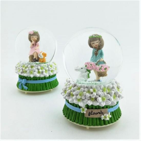 Çiçek Kız ve Şirin Köpek/Tavşan Işıklı Kar Küresi ve Müzik Kutusu