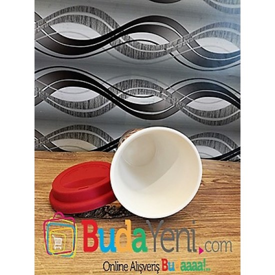 Classic Expreso temalı silinkon kapaklı retro kupa bardak