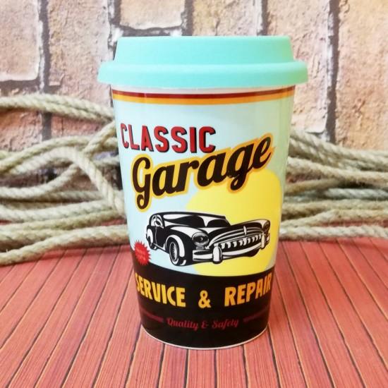 Classic Garage Temalı Retro Silikon Kapaklı Kupa Bardak