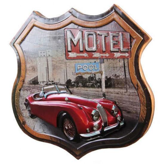 Dekoratif 3D Motel & Kırmızı Chevrolet Temalı Duvar Panosu