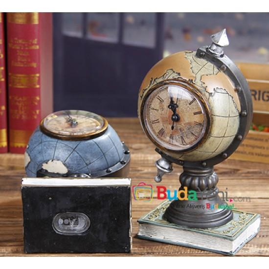 Dekoratif Dünya Tasarımlı Masa Saati ve Kumbara