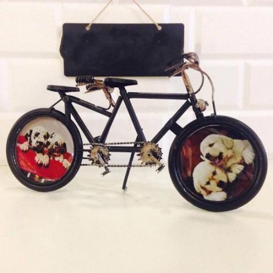 Dekoratif El Yapımı Metal Bisiklet ve Resim Çerçevesi
