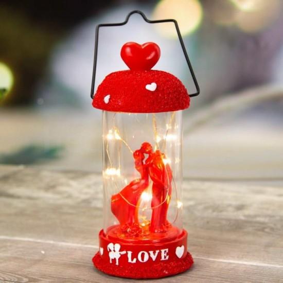 Dekoratif Love Temalı Işıklı Fanus ve Biblo