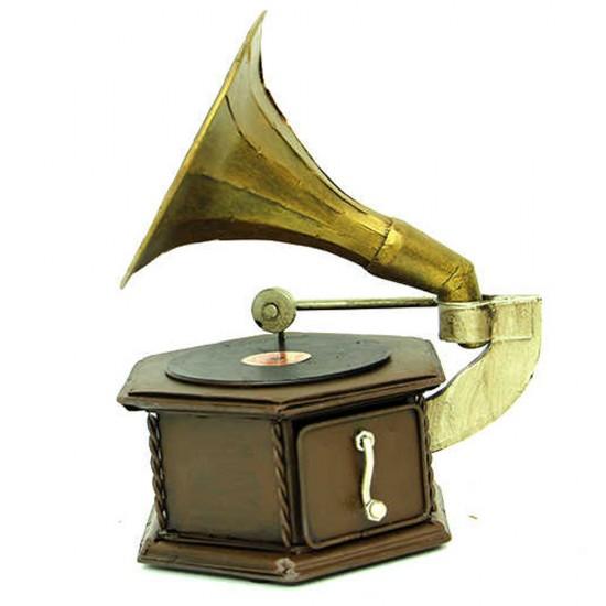 Dekoratif Metal Gramofon Kutu