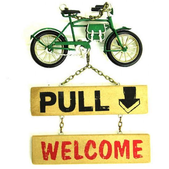Dekoratif Metal Kapı Yazısı Bisiklet Temalı