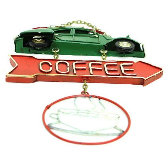 Dekoratif Metal Kapı Yazısı Yeşil Vosvos Araba (Coffee)