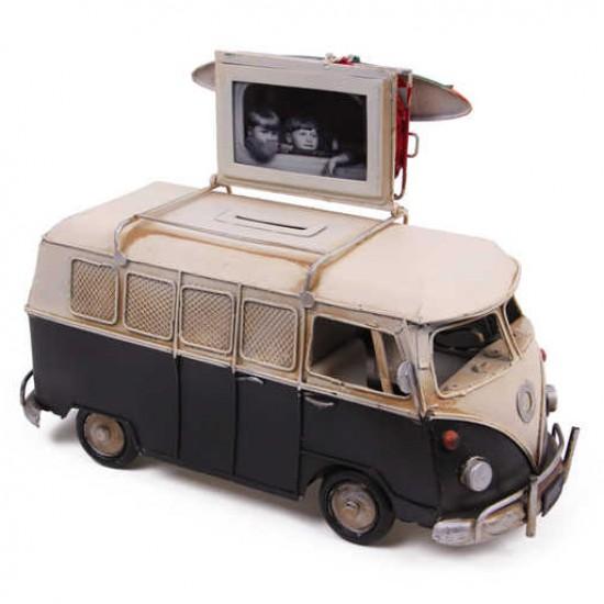 Dekoratif Metal Minibüs Çerçeveli ve Kumbaralı