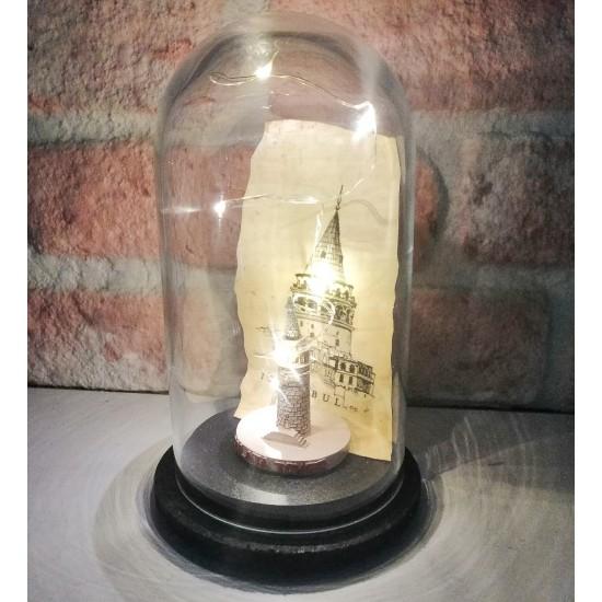 Dekoratif Nostaljik Işıklı Galata Kulesi Cam Fanus