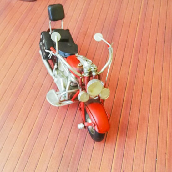 Dekoratif Nostaljik Metal Motosiklet Kırmızı