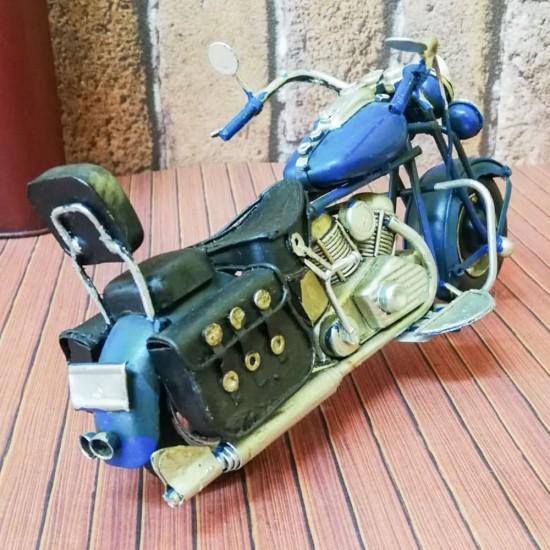 Dekoratif Nostaljik Metal Motosiklet Mavi